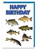 Geburtstagskarte–River Fisch Mottoparty–Dad–Mann–Brother–Sohn–Grandad–Boyfriend