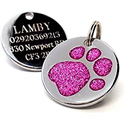 County Engraving Médaille pour chien personnalisable Motif empreinte de patte à paillettes 25mm