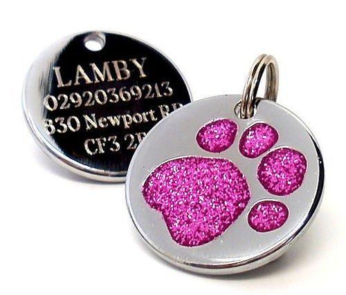 Placa de identificación para perro, grabado personalizado, diseño de huella de perro...