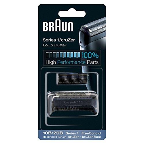 Braun 10B/20B - Recambio para afeitadora eléctrica, compatible con afeitadoras Series 1 y cruZer, color negro