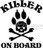 Hunde-Autoaufkleber Car-Sticker KILLER ON BOARD Pfoten-Aufkleber 150x130mm (schwarz)