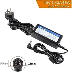 FSKE 65W 19V 3.42A Chargeur pour Ordinateur Portable ASUS/Toshiba/Lenovo/Medion X552C X550C K52F K53E E200H C855 L850 Y730 Y530 AC Adaptateur, PA-1650-78 AD887020 Notebook EUR Alimentation,5.5*2.5mm