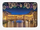 OQUYCZ Landscape Bath Mat, Night Panoramic View Vecchio Bridge Florence Italy with Colorful Fireworks, Plush Bathroom Decor Mat with Non Slip Backing, 23.6 W X 15.7 W Inches, Gold Navy Purple
