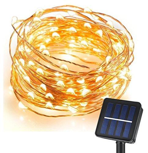 Solar Garten Lichterkette Außen Warmweiß für Party, Weihnachten, Outdoor, Fest Deko usw. (Stunden-party-stadt)