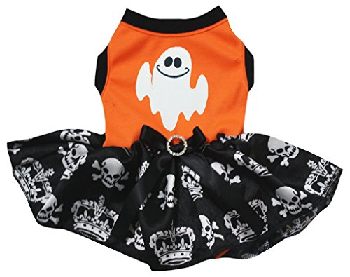 petitebelle Puppy Kleidung Hund Kleid Weiß Ghost orange Top Totenkopf Krone Tutu