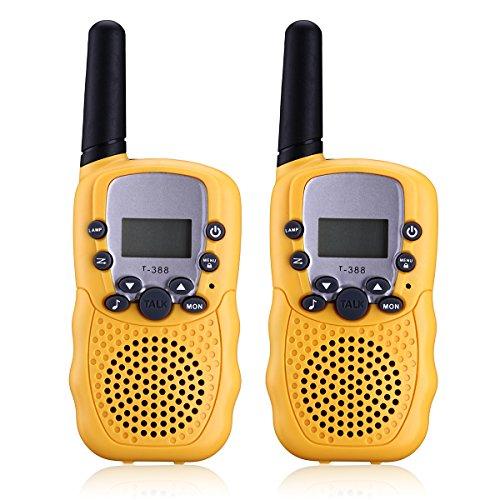 Preisvergleich Produktbild Apeanut 2er Walkie Talkie Funkgerät Funkhandy UHF 446.00625-446.09375MHz Vox 8 Kanäle mit LC-Display für Kinder Baby Kleinkind ab 5 Jahre(Gelb)