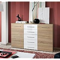 Letti e Mobili - Aparador Abat en color sonoma con cajones blancos