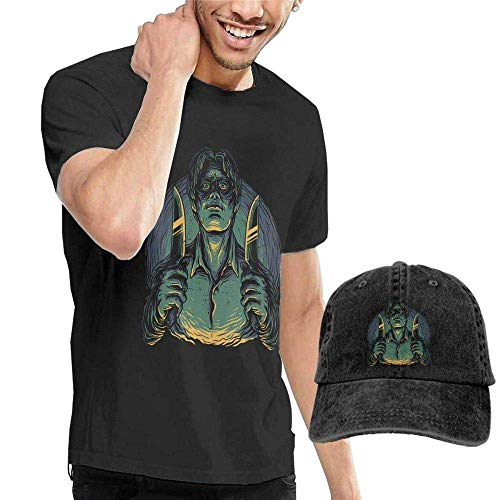 T-Stücke, Man Custom Serial Killer Summertime 100% Cotton Short Sleeve T Shirts and Cowboy Hat Black ()