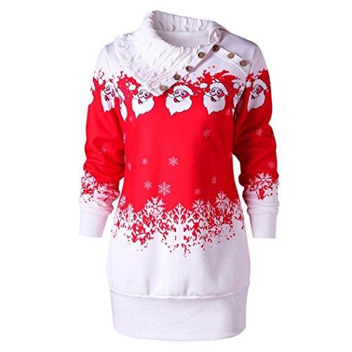 Damen Weihnachten Sweatshirt Sonnena Weihnachtspullover Christmas Print digitaldruck Langarm Schulterfrei Pullover großen größen Oberteile Tops Hemd T-shirt Outwear Coat fur festliche (Red, 2XL)