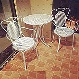 Du hui Tavolo da Pranzo e sedie da Esterno in Ferro, Tavolo da Giardino in Ferro battuto, Tavolo Rotondo e Combinazione di Tre sedie per Patio, Cortile, Giardino (Color : White)