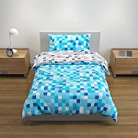 Bloomsbury Mill Blue/Grey Pixel Reversible Bedding Set -