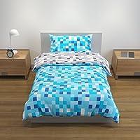 Bloomsbury Mill Blue/Grey Pixel - Reversible Bedding Set - Single Duvet Cover and Pillowcase