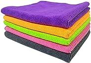 SOFTSPUN Microfiber Towel 340 GSM (5Pcs, Multicolour)
