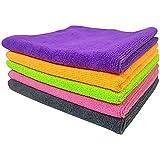 SOFTSPUN Microfiber Cloth - 5 pcs - 40x40 cms - 340 GSM Multi-Color - Thick Lint & Streak-Free Multipurpose Cloths - Automotive Microfibre Towels for Car Bike Cleaning Polishing Washing & Detailing
