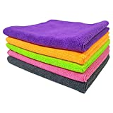SOFTSPUN Microfiber Cleaning Cloth for Car, Home & Kitchen - Automotive Drying Towel for Cleaning, 340 GSM - 40 X 40 cm, Multi-Color - Pack of 5
