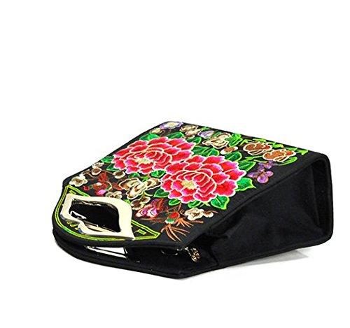 Bella borsa a tracolla–Memorecool ricamo Handbags National Style borsa ragazze in poliestere con zip Tasche interne Healthy peonies3 peonies1