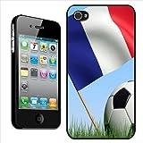 Fancy A Snuggle Coque arrière rigide pour Apple iPhone 4/4S Motif drapeau français et ballon de football blanc et noir