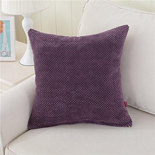 Teebxtile Haut confort velours Velvet Back support berceau couleur velours côtelé, 50x50cm (oreiller + capuche, violet foncé
