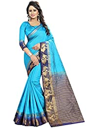 SATYAM WEAVES WOMEN'S ETHNIC WEAR KANJIVARAM COTTON SILK SAREE. (DUCK)