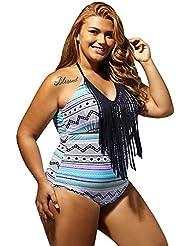 Bikini de cou unique de loisirs suspendus XL cou stripe impression One-Piece swimsuit