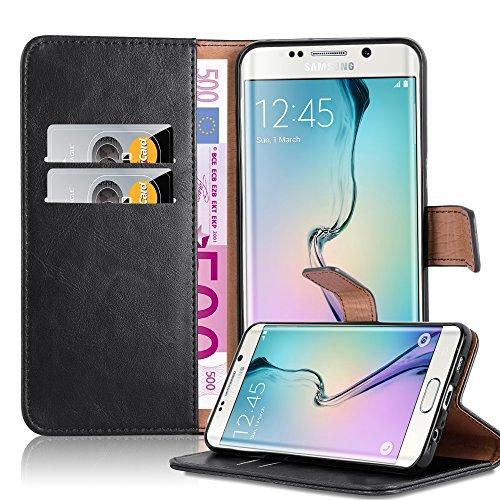 Cadorabo Coque pour Samsung Galaxy S6 Edge Plus en Noir DE Jais - Housse Protection avec Fermoire Magnétique, Stand Horizontal et Fente Carte - Portefeuille Etui Poche Folio Case Cover