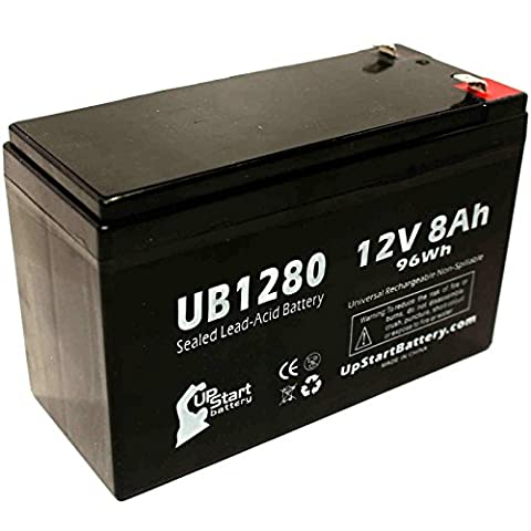 Replacement APC RBC12 Battery - Replacement UB1280 Universal Sealed Lead Acid Battery (12V, 8Ah, 8000mAh, F1 Terminal, AGM, SLA) - Includes TWO F1 to F2 Terminal Adapters