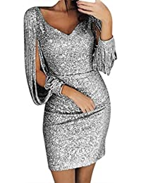 024cadb228f2 LANSKRLSP Elegante Vestito Dorato Lustrini Cerimonia Vestiti da Cerimonia  Corti Le Donne Sexy Moda Maniche Lunghe
