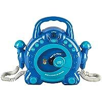 Idena 40104 - niños de CD Canta un Largo con 2 micrófonos y Pantalla LED, Azul