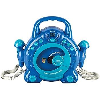 Idena 40104enfants Lecteur CD Sing A Long avec 2microphones et écran LED, bleu