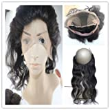 "100% Human Hair 360 Lace Frontal Closure with 13""X4"" Frontal Lace Band Free Part Bleached knots Natural Black Body Wave ( Length 14"")"