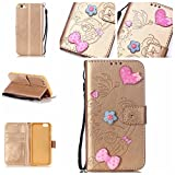 iPhone 6 6S (4,7 Zoll) Case Leather, Ecoway 3D Fashion Handmade Bling Diamond Crystal Butterfly flower pattern PU Leather Stand Function Protective Cases Covers with Card Slot Holder Wallet Book Design Detachable Hand Strap for iPhone 6 6S (4,7 Zoll) - Gold