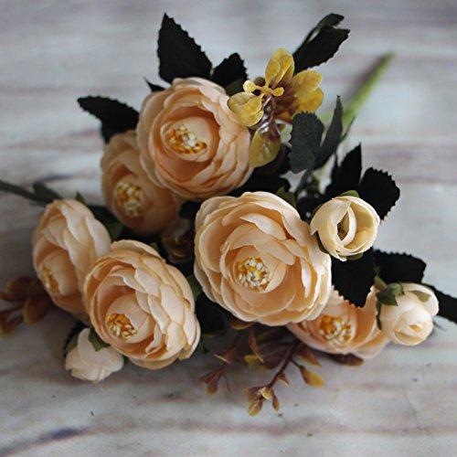 (MingXiao Heiße Milch Weiß Herbst Künstliche Gefälschte Pfingstrose Blume Hochzeit Hydrangea Decor Gefälschte Herbst Lebendige Pfingstrose Gefälschte Blatt 28 cm / 10,92''Lenth)