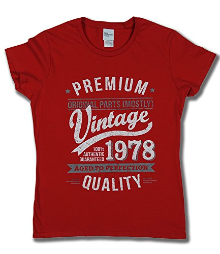 My Generation Gifts 1978 Vintage Year - Aged to Perfection - 40. Geburtstag Frau Fun Damen T-Shirt Rot M