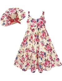 Mädchen Kleid Voll Länge Blume Drucken Mit Hut Blume Rosa