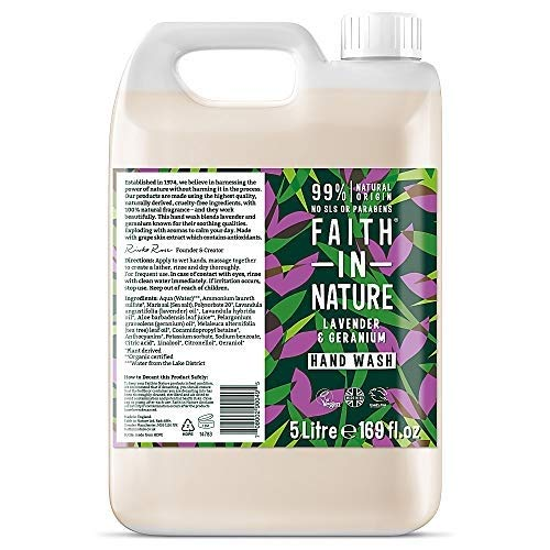 Faith in Nature Organic Lavender and Geranium Hand Wash 5Litre -