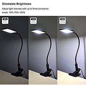 Princeway Touch Dimmable LED Desk Lamp- Clamp LED Reading Light- 5W Energy Saving SMD5630 LED- Pure White Lighting Eyesight Protection- Adjustable Metal Gooseneck- UK Power Plug by Princeway Lighting