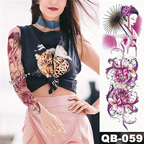 Big Arm Sleeve Tattoo Art Python Wasserdichter Sticker Lotus Peacock Girl -