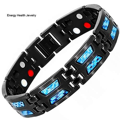 HXML Magnetarmband, Zweireihig 4 IN 1 Bio Elements Energie Armband Blau Carbon Magnetic Titan Armreifen & Armbänder Geschenk Für Mann MitEntfernenWerkzeug
