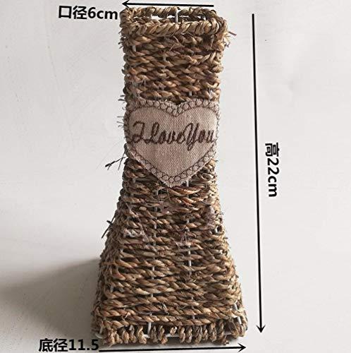 Deendeng vaso fiori cesto in paglia di rattan decorazione vaso in ferro battuto intrecciato a mano-bocca quadrata vaso