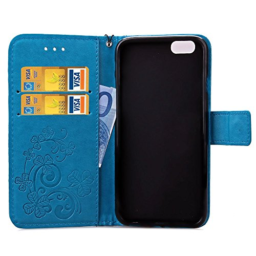 Etsue pour Apple iPhone 6/6S 4.7 Coque,PU Cuir Portefeuille Case Pattern Leather Étui Carte Fentes pour Apple iPhone 6/6S 4.7,Coloré Retro Flip Case Wallet Cover Folio Book Style Magnetic avec Cross G Trèfle quatre feuilles Bleu