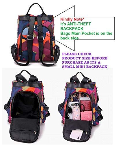 MOCA Women's Nylon Mini Small Anti-Theft Rucksack Travel Backpack (Multicolour) Image 2