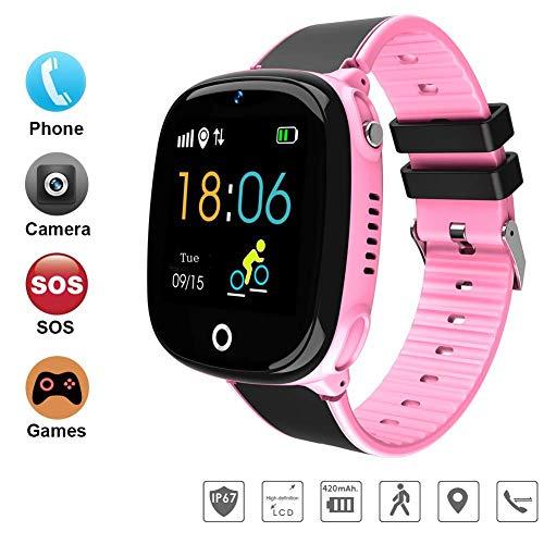 DUWIN NEWIntelligente Handyuhr der Kinder Wasserdichte Positions-Farbenschirm Screenkarte, Zum der Handyuhr zu Tragen Unterstützen Sie 2G Netzwerk-SIM-Karte, Pink
