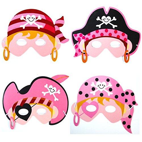 -8 x Lady Piratin Masken aus Schaumstoff ┃ Miss Lady Pink Piratin ┃ Piraten Party ┃ Ideal zum Kindergeburtstag und Karneval (Piraten-lady)