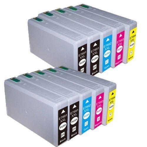 10 Cartucce compatibile per Epson con CHIP T7891 T7892 T7893 T7894 (4x nero + 2x ciano + 2x magenta + 2x giallo) Epson WF-5620DWF / WF-5110DW / WF-5690DWF / WF-5190DW