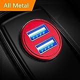 DIVI Chargeur de Voiture, Ultra Compact 2 Ports USB 5V / 4.8A en Alliage d'Aluminium Chargeur Allume Cigare, Charge Rapide pour iPhone XR/XS Max/ 8 Plus, Galaxy S8 / S7 / Edge, Huawei (Rouge)
