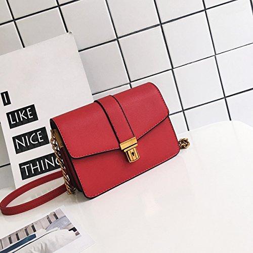 Weibliche metallschloss Mehrstöckige Kette kleine quadratische tasche Schulter messenger bag Rot