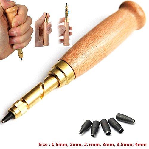 TILY Schraube Locher/Auto Leder Werkzeug Buch Bohrer 6 Tipps Größen 1,5–4 mm für Nähen Leder Papier Craft