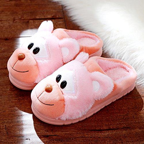 DogHaccd pantofole,Cartoon carino pantofole di cotone coppia femminile di spessore di rimanere caldo inverno piscina antiscivolo pantofole di peluche maschio Arancione4