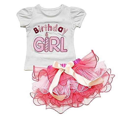iEFiEL Baby Mädchen 2tlg. Bekleidungsset Top T-shirt Tutu Pettiskirt Kleid Party Geburtztag Festkleid (9-12 Monate)