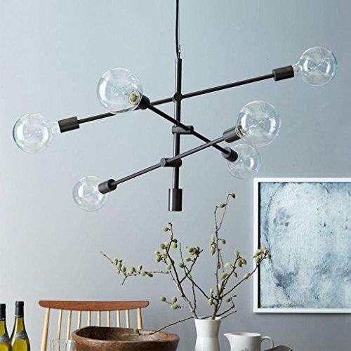 Modern Deckenlampe Moderne Kronleuchter Beleuchtung Black & Gold Finish 6 Lichter Deckenleuchter Hängelampe Balkon Schlafzimmer ( Farbe : Schwarz ) (6-licht Kronleuchter Gold)